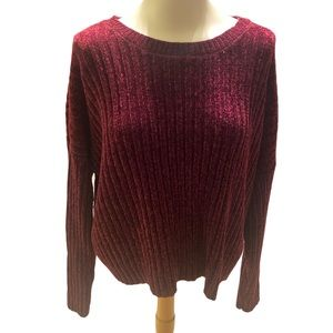 Forever 21 Burgundy Ribbed Sweater Size Large